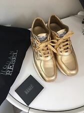 Hogan Golden Leather Sneakers - Size 37 Fit