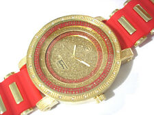Iced Out Bling Bling Big Case Rubber Band Men's Watch Gold Red Item 4050