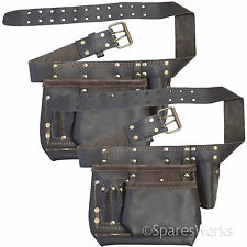 Heavy Duty Leather Multi Pocket Tool Belt Pouch Storage Holder Pack of 2 Belts