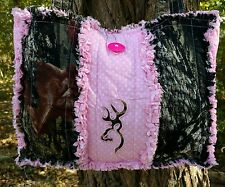 Mossy Oak & Pink Browning Deer Head Buck Mark Rag Quilt Purse Tote Diaper Bag