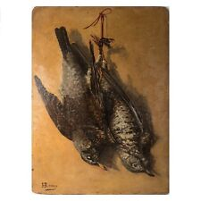 Antique Oil Painting on Panel, Tromp L'Oeil Fruits of the Hunt, Birds + Photo