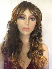 New Women's Fashion Long Curly Wavy Brown Golden Highlighted Wig