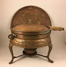 Vintage Copper Chafing Dish Warmer With Serving Tray Aztec Repousse