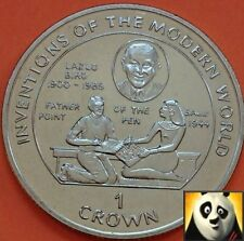 1995 ISLE OF MAN 1 One Crown Coin Lazlo Biro Father of the Ball Point Pen