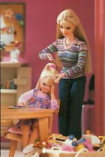 """"""" Playing Barber """"  Fashion Collectible Photo Card Mattel - Barbie Doll Postcard"""
