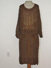 1920's Brown Silk Chiffon Beaded Flapper Dress LG