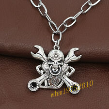 Mens Stainless Steel Cross Wrench Skull Pendant Chain Motorcycle Biker Necklace