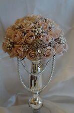 Brides Mocha Pink Cascading Crystal/Pearl Brooch Wedding Bouquet