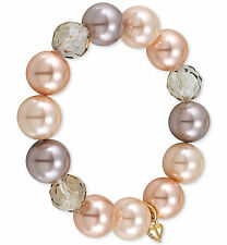 CAROLEE 'Make Me Blush' Glass Pearl Faceted Bead Bead Stretch Bracelet