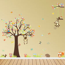 Jungle Tree Owl Animals Wall Stickers Art Decal Children Kids Nursery Décor