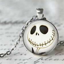 Vintage Skull Cabochon Tibetan silver Glass Chain Pendant Necklace #/1