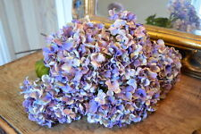 Bunch of 5 Pretty Vintage Blue Hydrangeas, Artificial Luxury Silk Flowers