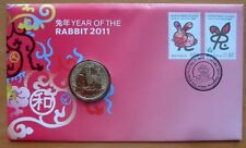 YEAR OF THE RABBIT 2011 PNC STAMP AND $1 COIN COVER