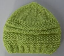 Hand-knitted Baby Hat - Apple Green - 3-6 months