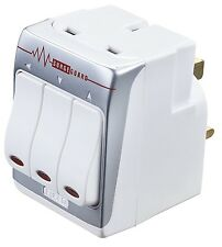 Masterplug White Plug-In 13A Surge Protected 3-Way Switched Mains Socket Adaptor