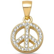 Yellow Gold Plated Micro Pave Cz Peace Sign .925 Sterling Silver Pendant