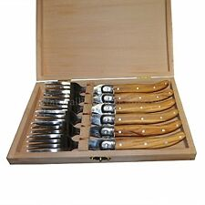 Olive Wood Handle Laguiole Steel Steak Forks - Set of 6