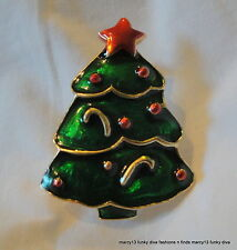 Gorgeous Vintage Enameled Green Christmas Tree Pin Brooch w Red Star Topper