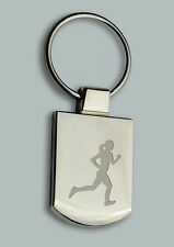 Engraved LADY RUNNING Design keyring BOXED Personalised Free Key ring