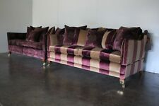 "Exceptional Immaculate Pair of Duresta ""Trafalgar"" Sofas in Gold & Purple Velvet"