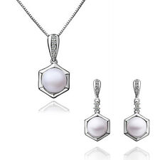 Elegant Silver & White Pearl Drop Jewellery Set Stud Earrings & Necklace S377