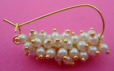 GLOWING PEARLS GOLD TONE MARATHI NOSE RING NATH INDIAN BRIDAL PARTY WEAR JEWELRY