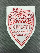 1 Stickers Scudetto DUCATI Meccanica Vintage White & Red 3D resinato 100 mm
