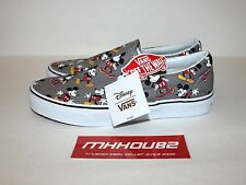 New Disney Mickey Mouse Vans Classic Slip On Grey Gray Skateboard Shoes Size 9