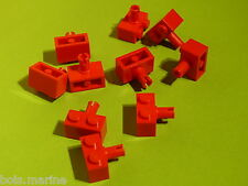 Lego 10 briques avec clip rouge set 4226 6456 2507 76006 /10 red brick modified