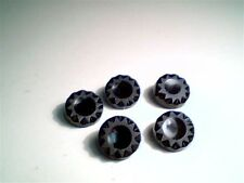 5 Antique Victorian Glass Buttons Mourning Black Jet SUN  15 mm B5