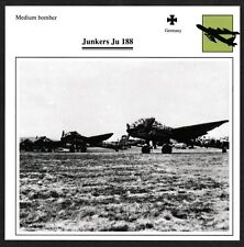 Germany Junkers Ju 188 Medium Bomber Warplane Aviation Card - I Combine S/H