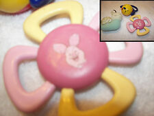 Vintage  Teething ring piglet  /snail doll  / ball dog rattler set 3 cute