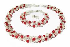 Elegant Natural Red Coral & Pearl Necklace, Bracelet & Earrings  Jewellery Set