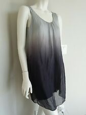 Prontomoda Giusy 100% silk ombre gray sleeveless dress Italy sz S NWT