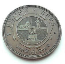 Very High Grade 1892 South Africa Penny Coin