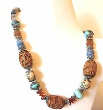"""VINTAGE ANTIQUE CHINESE CARVED NATURAL TURQUOISE CARNELIAN WOOD NECKLACE 21"""""""