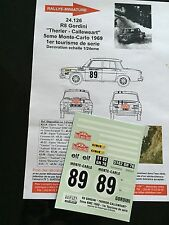 DECALS 1/24 RENAULT 8 GORDINI THERIER RALLYE MONTE CARLO 1969 RALLY WRC HASEGAWA
