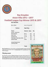 RAY GRAYDON ASTON VILLA 1971-1977 ORIGINAL HAND SIGNED ABC CARD