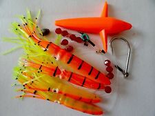 DAISY CHAIN BAIT RIG BULB SQUID & BIRD TUNA MARLIN TROLLING LURES - ORANGE