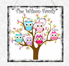 Personalised Owl Family Tree Plaque Love Birthday Mother's Day Anniversary Gift