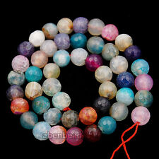 8mm Faceted Mix-Color Agate Round Beads 14.5""