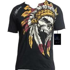 AFFLICTION WINDTALKER Mens XXXL Indian Chief Skull VNECK 3XL T shirt New UFC Tee