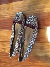 Ferragamo Ballet Flats Tan And Maroon With Pleating And Bow 9.5