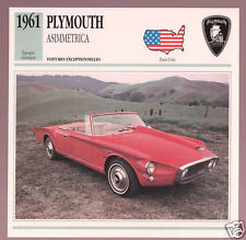 1961 Plymouth Asimmetrica Prototype Show Car Photo Spec Sheet Info French Card