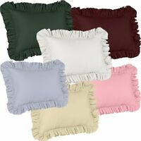 SOLID COLOR RUFFLED PILLOW SHAM - LIGHT GREEN