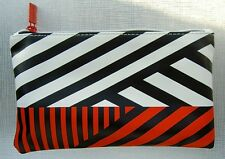 SEPHORA MAKEUP BAG COSMETIC CASE WHITE RED BLACK STRIPES FAUX LEATHER NEW