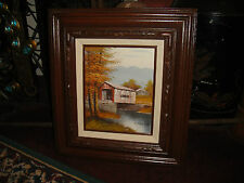 Superb Michaelson Oil Painting On Board-Covered Barn Bridge-Country Decor