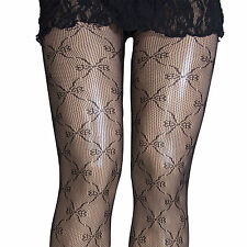 PLUS SIZE  1X- 2X  BOW LACE CROCHET NET FISHNET TIGHTS PANTYHOSE COLLANT COUTURE