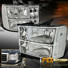 [Clear Reflector] 2007-2013 GMC Sierra 1500 2500HD 3500HD Chrome Headlights Pair