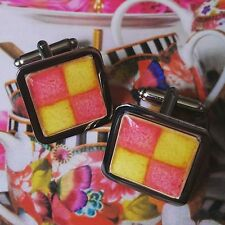 Unique! BATTENBERG CUFFLINKS chrome CAKE designer GIFT battenburg BAKE OFF